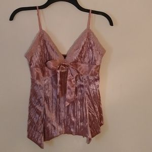 My Michelle Pink crushed velvet camisole/tank